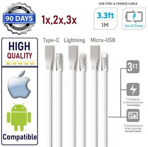 Luxury USB FAST High speed Data Sync & Charge Cable for iPhone,Samsung,Type-C