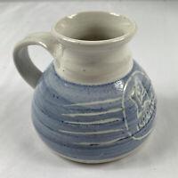 Cariaso No Spill Travel Flat Bottom Mug Coffee Cup Vintage Art Pottery Blue 12