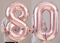 "80th Birthday Party 40"" Foil Balloon HeliumAir Decoration Age 80 Rose Gold lite"