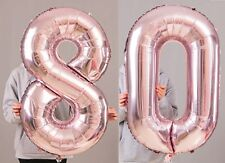 """80th Birthday Party 40"""" Foil Balloon HeliumAir Decoration Age 80 Rose Gold lite"""