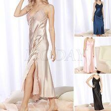 Womens Sexy Long Silk Satin Sleepwear Lace Nightgown Nightwear Lingerie Bathrobe