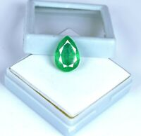 Green Emerald Zambian Loose Gemstone 6-8 Ct/16mm Natural Pear Cut AGI Certified