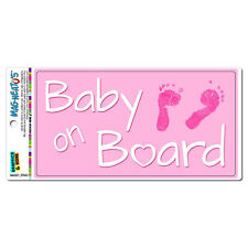 Baby on Board - Pink Girl Foot Prints Cute - MAG-NEATO'S™ Car Vinyl Magnet