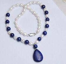 "Natural 7-8MM White Akoya Pearl / Lapis Lazuli Pendant Necklace 18"""