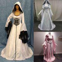 Women Medieval Cosplay Renaissance Long Sleeve Floor Length Retro Witch Dress
