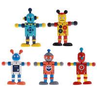 5pcs Wooden Puppets Robots Action Figure Toy Flexible Poseable Developmental