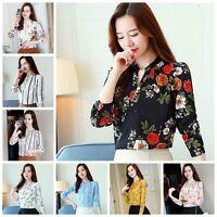 Elegant Women Autumn Long Sleeve Floral Print Casual Chiffon Blouse Shirt Tops