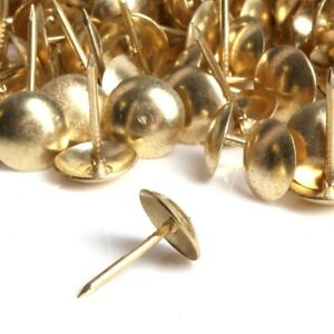 100x BRASS UPHOLSTERY DIY NAILS Decorative Sofa Chair Fabric Furniture Tack Pin
