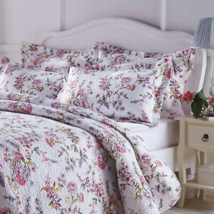 Quilted Bedspread Set Wild Flower Lilac Pink Printed Additional Shams Available