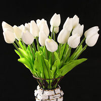 10 pcs White Tulip Flower Latex For Wedding Bouquet KC456 - white Y1