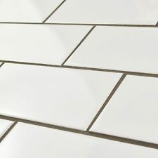 SomerTile 3 x 6 Inch Malda Subway Glossy White Ceramic Wall Tile (Case of 136)