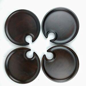 Set of 4 Pottery Barn Wood Mingling Plates Called 'Swood' w/Wine Stem Notch -C