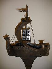 """Antique large 36"""" German Viking ship hand wrought steel smoking stand folk art"""