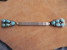 Turquoise Cluster & Sterling Silver Watch Tips Watch Band by Benjamin Piaso
