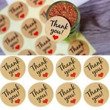 12PCS Kraft Paper Love 'THANK YOU' Self-adhesive Seal Gift Sticker Label Sealing