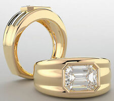 1.02 carat Emerald cut DIAMOND Engagement Solitaire Mens 14K Yellow Gold Ring