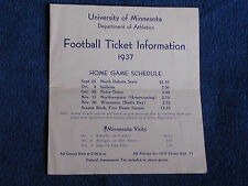 1937 University of Minnesota Football Ticket Information Brochure/Schedule-Price