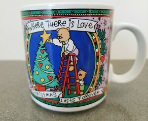 Russ Teddy Bear Coffee Mug Cup Where There is Love Christmas Lasts Forever VTG