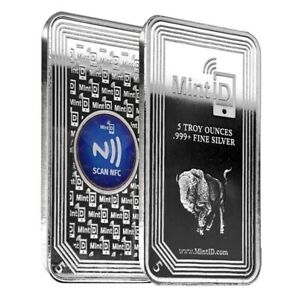 5 oz MintID Buffalo Silver Bar .999+ Fine (NFC Scan Authentication)