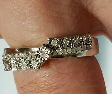 Diamonds 1/8ct.Solid Sterling Silver Halo Ring.Size P-Q Hallmarked