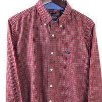 Chaps Mens Dress Shirt, Red Plaid Large