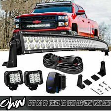"For 1990-2019 Chevy Silverado GMC Sierra 1500 2500 3500 54"" Curved LED Light Bar"