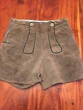 Vintage German Lederhosen Leather Suede Mens Boys Hunter Green Shorts (LS)