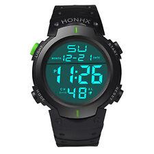 Waterproof Men's Silicone LCD Digital Stopwatch Date Rubber Sport Wrist Watch V1