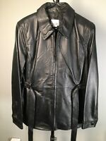 Belted Leather Jacket By East 5th Women's Large Black