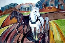 "High Quality Oil Painting ""Horse Team"" 24""x36"""
