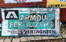 "VINTAGE Armour Fertilizers Sign VERTAGREEN AGRICULTURE Metal Embossed 35x70"""