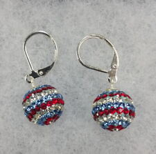 Nature's Jewelry Silverplated And Crystal Patriotic Ball Earrings