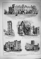 Old Antique Print 1884 St. Albans Abbey Clock Tower Watford Architecture 19th