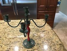 Shabby Farmhouse Chic Primitive Red/green  Vintage  4 Arm CANDELABRA