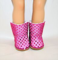 """Fits Our Generation American Girl Doll 18"""" Dolls Clothes Shoes Pink Sequin Boots"""