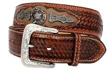 Mens Cognac Western Cowboy Belt Ranger Star Tooled Leather Cinto Rancho Size 38