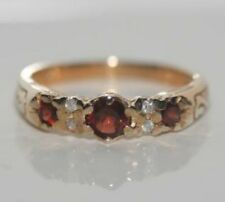 9CT YELLOW GOLD GARNET & DIAMOND CLUSTER RING BRAND NEW HALLMARKED GORGEOUS