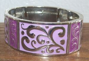 Pretty Pink & Silver Enameled Flexible Stretch Cuff Bracelet Fashion Jewelry