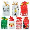 10* Christmas Drawstring Bags Candy Gift Bag Santa Claus Deer Packing Decor New