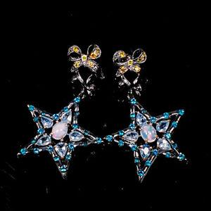 8x6mm Beauty Rainbow SET Opal Earrings Silver 925 Sterling   /E57910