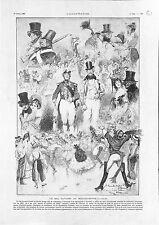 Paris Bal Masqué Gavarni Moulin-Rouge Montmartre Dessin de Willette GRAVURE 1902