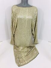 Vintage Glam 80s Nude/Champagne Color Sequined Beaded Long Sleeve Short Dress