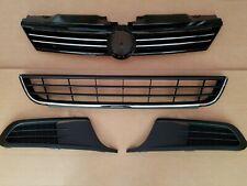 4PC Set 2011-2014 JETTA SEDAN Front Bumper Upper Lower Grille & Fog Light Bezels