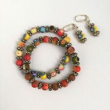 VIVA BEADS Couture Floral Clay Beads Statement Stretch Bracelet & Earrings