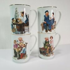 4 Norman Rockwell Museum Mugs Vintage 1982 Gold Trim