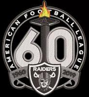 OAKLAND RAIDERS 60TH ANNIVERSARY PATCH 1960 - 2019 SEASON NFL FOOTBALL LAS VEGAS