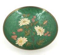 "Vintage Solid Brass Enamel Footed Pedestal Bowl Flowers Floral Centerpiece 9"""
