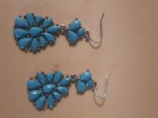 1.5 inches Long Turquoise Sterling Earrings Medium-Pierced