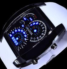 Chestox Digital Herren Armband Uhr Blaue Led Weiß Schwarz Tacho Optik Licht