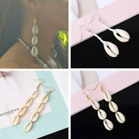 Bohemian Natural Cowrie Shell Pendant Drop Earrings Beach Jewelry For Woman UK